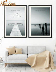 Modern 2 Panels Home Decoration Nordic Minimalist Landscape Canvas Painting Living Room Wall Art Picture
