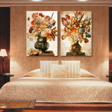 2 Panels Canvas Painting Modular Pictures Vintage Flower Spray Modern Home Decor Kitchen
