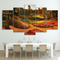 HD Printed 5 Piece Canvas Art Autumn Golf Course Painting Fall View Wall Pictures Living Room Decor