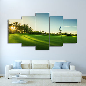 HD Printed 5 Piece Canvas Art Beautiful Golf Course Painting Wall Pictures Living Room Modern