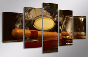 HD Printed Cigar Bar Glasses Painting On Canvas Room Decoration Print Poster Picture
