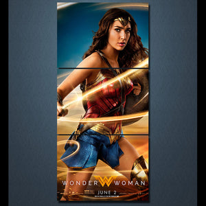 Wall Picture Home Decor Canvas Painting Wall Art Print 3 Panels Wonder Woman Movie Painting