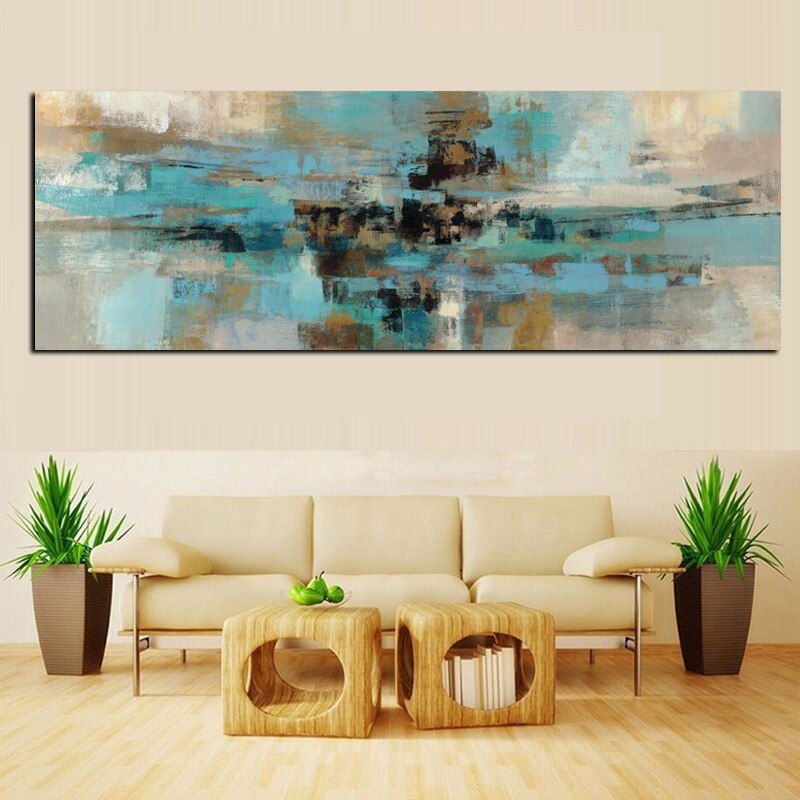 Modern 1 Panel Canvas Prints Painting Abstract Morning Fjord Wall Art Picture Living Room Wall Artwork