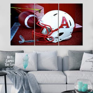 American Football Helmet And Ball Sport Painting 4 Piece Modular Style Picture Canvas Print Type Decor Wall