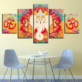 Print Canvas Modular Poster Pictures 5 Pieces Hindu God Elephant Ganesha HD Wall Art Painting