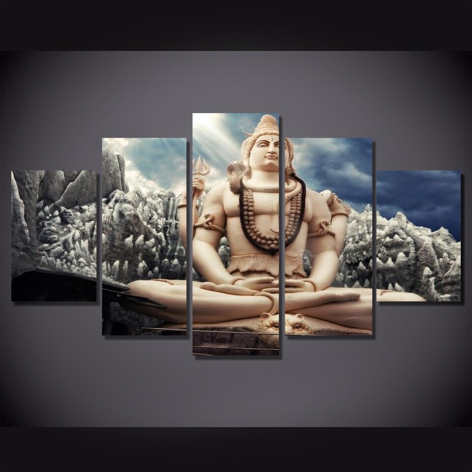 Oil Painting Modular Picture Wall Modern Printing Type 5 Pieces Hindu God Canvas Art Home Decoration