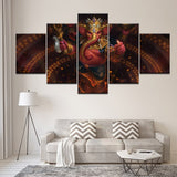 Canvas Wall Art Home Decor Pictures 5 Pieces Hindu Ganesha Paintings Elephant Head God Posters HD Printed