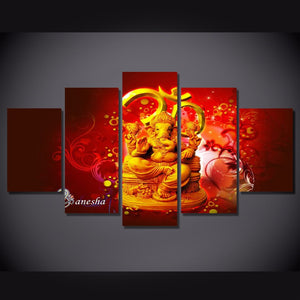 Art Print Modular  Painting 5 Pieces Hindu Buda Gods Canvas Poster HD Wall Picture Kids Room