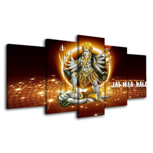 Canvas Tableau Poster Painting 5 Pieces Hindu God Indian Modern Art Print Live Wall HD Decoration Modular