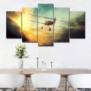 5 Piece HD Printed Other World War II Aircraft Warfare Painting Canvas Print Room Decor Poster Picture