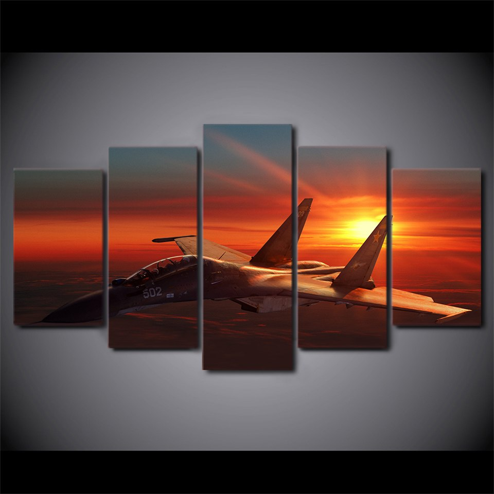 5 Piece Canvas Art HD Print Home Decor Aircraft Setting Sun Paintings Living Room Wall Poster Picture