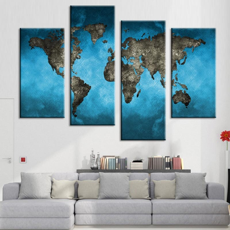 World Map Canvas Print Painting Abstract Blue Map Artwork Picture 4 Piece For Home Decor