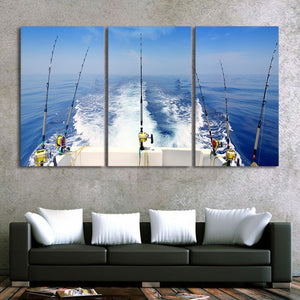 Modular Canvas Wall Art Pictures For home Prints Poster 3 Panel Fishing Rod Landscape Pictures Frame