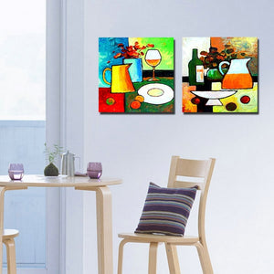 2 Panel Modern Paintings Kitchen Art Flowers Cups Wall Pictures For Living Room Wall Cuadros