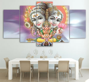 HD Printed 5 Piece Canvas Art Indian Mythology Painting Hindu God Elephant Wall Pictures Pictures Canvas