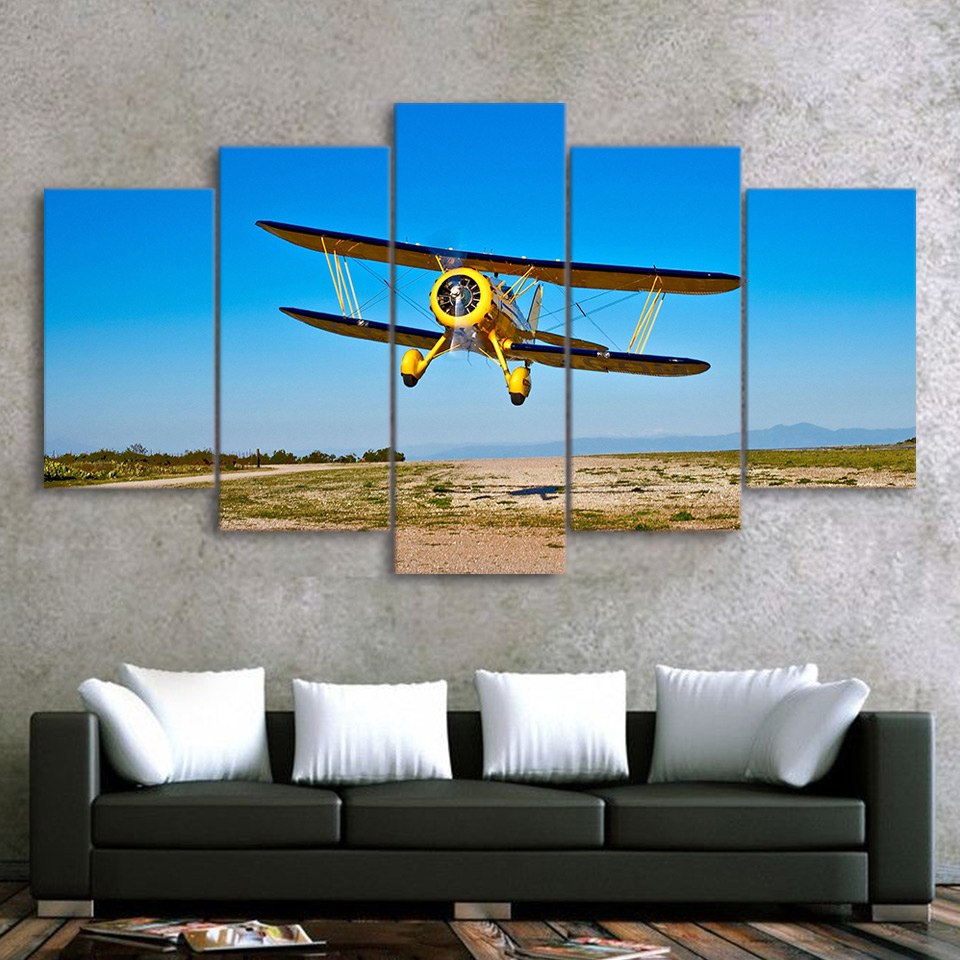 Wall Picture Home Decor Canvas Painting Wall Art Print 5 Panel Airplane Aircraft 5 Piece Art
