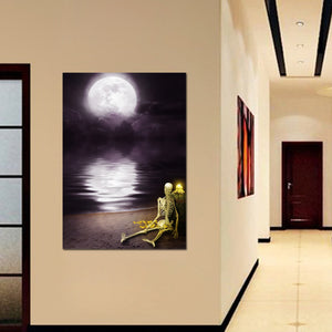HD Print 1 Piece Canvas Painting Abstract Moon River Skull Posters Wall Art Pictures Home Decor