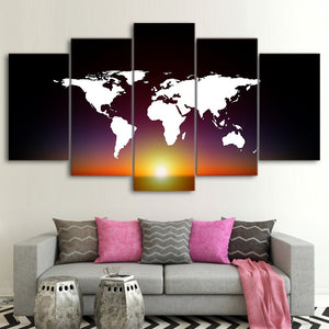 5 Piece Canvas Art HD Print Home Decor Continents Map Paintings Living Room Wall Poster Picture