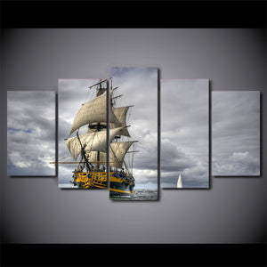 5 Piece Canvas Art HD Print Home Decor Sea Ship Art Paintings Living Room Wall Poster Picture
