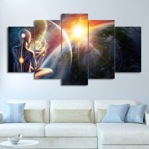 HD Print 5 Pieces Canvas Painting Cosmic Meditation Universe Wall Art Print Pictures Living Room