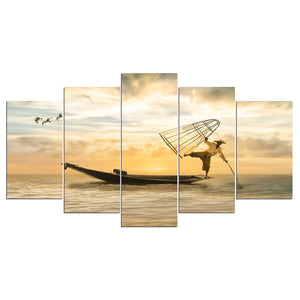 5 Pieces Wall Art Picture Gift Fisherman Home Decoration Canvas Print Beautiful Living Room