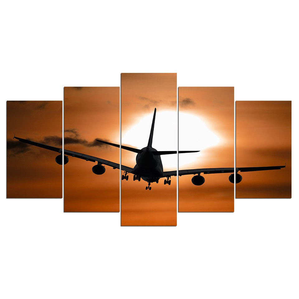 5 Panel Painting Canvas Wall Art Plane Picture Home Decoration Living Room Print Painting