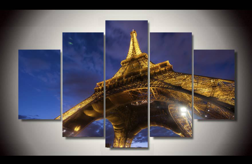 HD Printed Paris Eiffel Tower Night 5 Picture Painting Wall Art Canvas Print Room Decor Poster