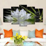 5 Panel Painting Canvas Water Lily Wall Art Picture Home Decoration Living Room Print Painting