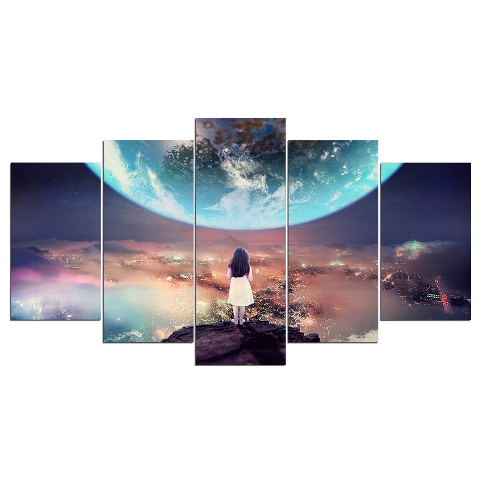 Modular Pictures 5 Panel Canvas Painting Girl Abstract City Scenery Lonely Planet Wall
