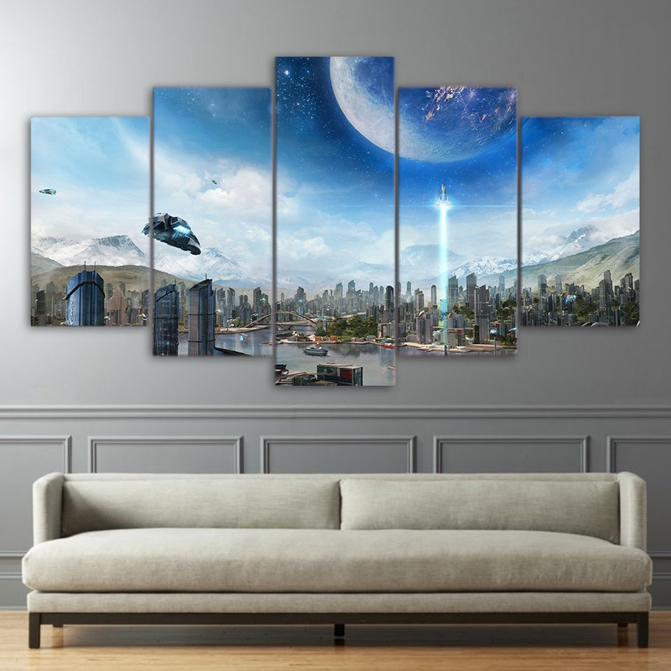 5 Piece Canvas Art HD Print Home Decor Sky Science Paintings Living Room Wall Poster Picture