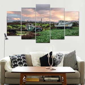 5 Pieces Wall Art Picture Gift Car And Boat Home Decoration Canvas Print Painting Living Room