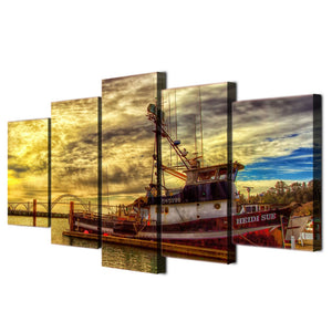 HD 5 Piece Printed Canvas Boat Sea Painting Canvas Print Room Decor Print Poster Picture