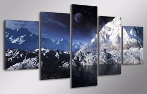 HD Printed Moon Snowy Sky Painting Canvas Print Room Decor Print Poster Picture