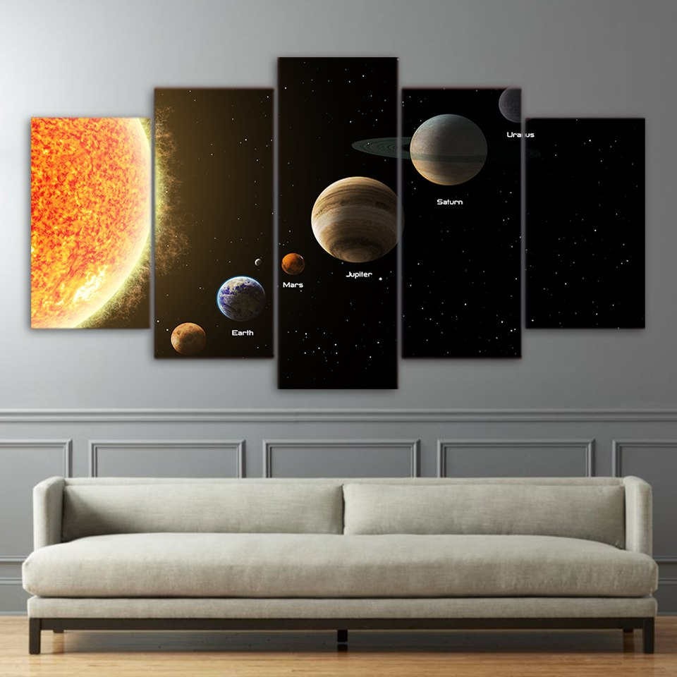 5 Piece Canvas Art HD Print Home Decor Science Paintings Living Room Wall Poster Picture