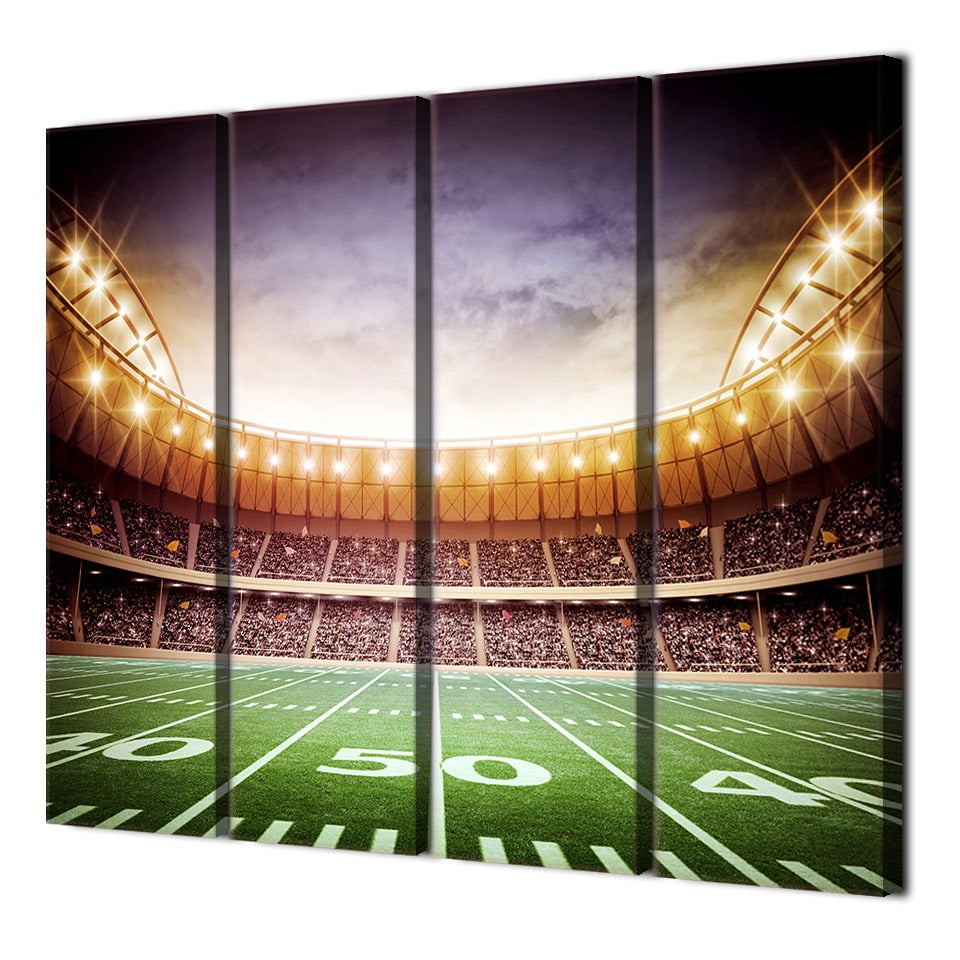 4 Piece Canvas Art Stadium Playground Lighting Wall Pictures Living Room Decorative Poster