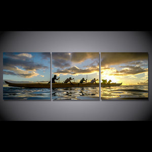 3 Piece Canvas Art HD Print Team Water Sports Kayak Sunset Paintings Living Room