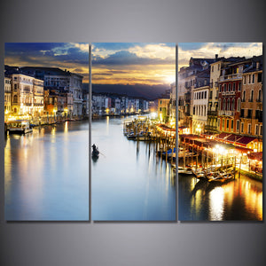 3 Piece Printed Wall Art City Boat Lake Painting Canvas Decoration Poster Picture