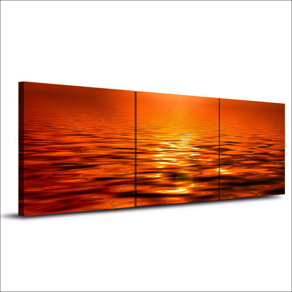 3 Piece Printed Landscape Sunset Sea Yellow Painting Canvas Decoration Wall Panel Picture