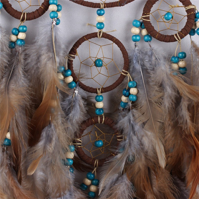 Handmade Originality Big Hot Brown Wind Chimes Indian Style Feather Pendant Dream Catcher