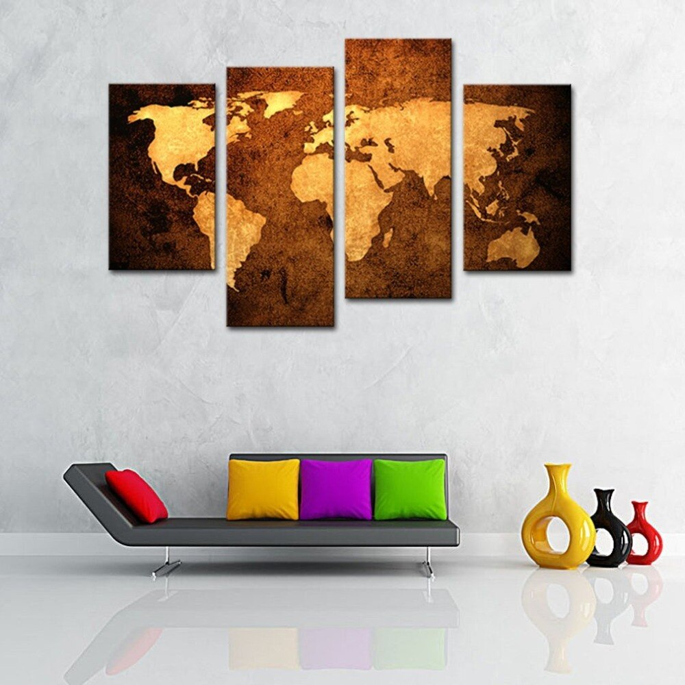 4 Piece Wall Art Print Black and Golden World Map Poster Vintage World Map Canvas Painting Wall Decor