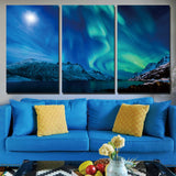 3 Panels Canvas Art Snow Mountain Aurora Home Decor Wall Painting Canvas Print Pictures Living Room Poster