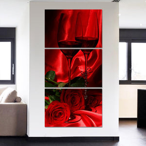 Wall Art Poster Modular Canvas HD Prints Paintings 3 Pieces Rose Wine Valentine's Day Home Decor Living Room