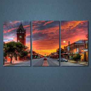3 Panels Canvas Art Rosy Could Downtown Street Home Decor Wall Art Painting Print Picture Living Room