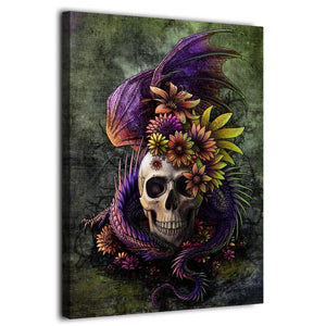 HD Printed 1 Panel Canvas Painting Abstract Flowery Skull Sunima Art Wall Pictures Living Room Posters