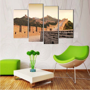 Canvas Painting HD Printed Modular Poster 4 Pieces Great Wall Landscape Modern Pictures Decoration