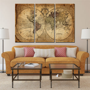Wall Painting Art Picture Paint On Canvas Nostalgic World Map Poster 3 Panel Wall
