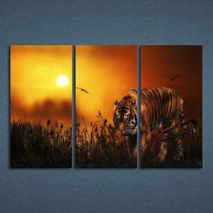 3 Panels Canvas Art Tiger Hunting Land Sunset Home Decor Wall Art Painting Canvas Prints Pictures Living Room Poster