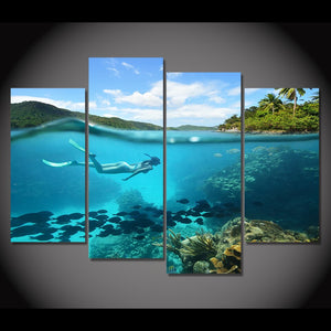 4 Piece Canvas Art Painting Tropical Diving HD Printed Wall Art Home Decor Poster Wall Pictures Living Room