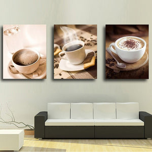 Living Room HD Printed Modular Canvas Poster 3 Panels Cups Of Coffee And Tea Wall Art Painting Home Decoration