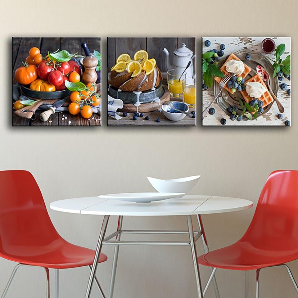Canvas Painting Poster For Living Room 3 Panel Delicious Fruit Food Wall Art Home Decor Modern HD Printed Pictures